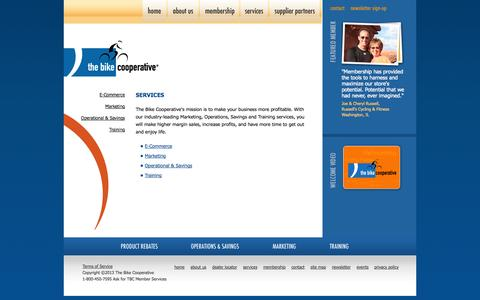 Screenshot of Services Page thebikecooperative.com - The Bike Cooperative, marketing, advertising strategy and consultation services for bicycle retailers - captured Sept. 26, 2014