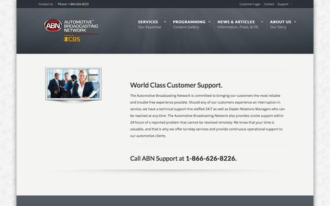 Screenshot of Support Page abnetwork.com - Customer Support | Automotive Broadcasting Network    Automotive Broadcasting Network | Dealership Digital Signage - captured Oct. 21, 2016