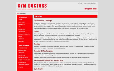 Screenshot of About Page Contact Page Services Page FAQ Page gymdoc.com - Exercise and Lifefitness Equipment Service, Weight Machine Repair | Gym Doctors - captured Sept. 30, 2018