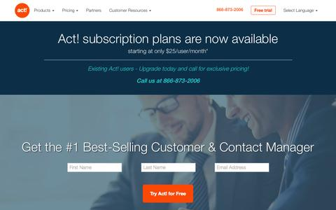 Screenshot of Home Page act.com - Act! Contact Management Software - captured Oct. 1, 2015