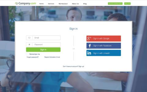 Screenshot of Login Page company.com - Company Social - Sign In - captured April 27, 2016