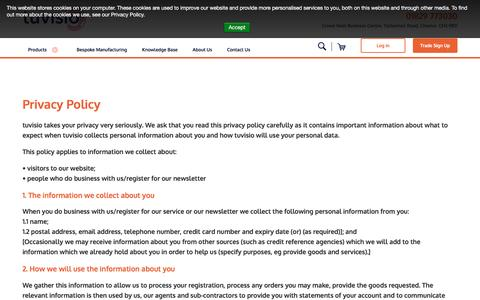 Screenshot of Privacy Page tuvisio.com - Privacy Policy - captured Jan. 24, 2017