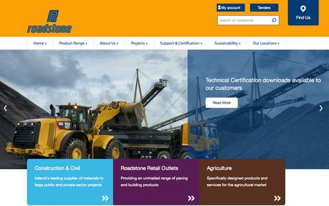Screenshot of Home Page roadstone.ie - Roadstone Construction and Building Materials Supplier in Ireland - captured Aug. 12, 2015