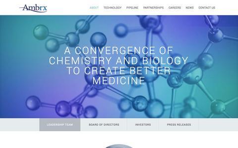 Screenshot of About Page ambrx.com captured Nov. 5, 2014