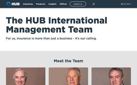 Screenshot of Team Page hubinternational.com - HUB Leadership Team | HUB International - captured July 16, 2019