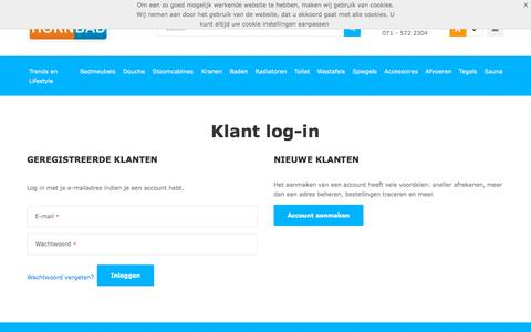 Screenshot of Login Page hornbad.nl - Klant log-in - captured July 22, 2018