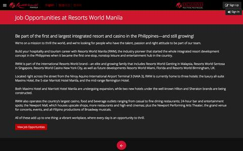 Screenshot of Jobs Page rwmanila.com - Careers and Job Opportunities at Resorts World Manila | Resorts World Manila - captured Sept. 19, 2014