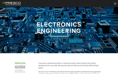 Screenshot of Services Page prescoinc.com - Electronics Engineering — Presco Inc. - captured July 21, 2018