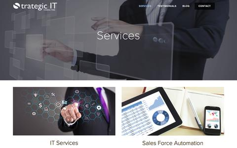 Screenshot of Services Page it-strategic.com - Services — Strategic IT Consulting - captured Feb. 16, 2016