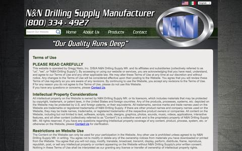 Screenshot of Terms Page nndrilling.com - N&N Drilling Supply | Terms of Use and Privacy Policy - captured Oct. 3, 2014