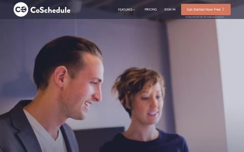Screenshot of Home Page coschedule.com - Marketing and Content Calendar for Blogging, Marketing + Social Media - captured Dec. 12, 2015