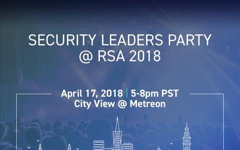 Screenshot of Landing Page digitalshadows.com - Security Leaders Party at RSA 2018 - captured April 21, 2018