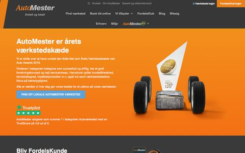 Screenshot of Home Page automester.dk - Autoværksted - Find dit lokale autoværksted her   Automester - captured Feb. 2, 2020
