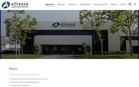Screenshot of About Page alliancespacesystems.com - About Us – alliancespacesystems - captured May 30, 2019