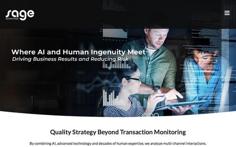 Screenshot of Home Page sageadvantage.com - Sage Advantage -Third Party Quality Assurance and Monitoring - captured Aug. 17, 2019