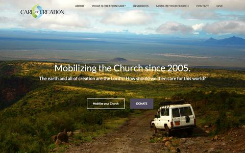Screenshot of Home Page careofcreation.net - Care of Creation – Mobilizing the Church to care for God's creation. - captured Sept. 26, 2018