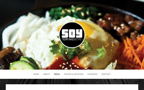 Screenshot of Menu Page soybistro.com - MENU | SOY BISTRO - captured Sept. 23, 2015