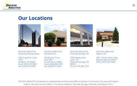 Screenshot of Locations Page dac.us - Locations — Decisive Analytics - captured Oct. 12, 2017