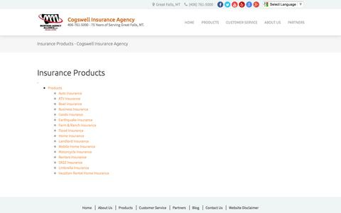 Screenshot of Products Page cogswellinsurance.com - Insurance Products - Cogswell Insurance Agency - captured Nov. 8, 2016