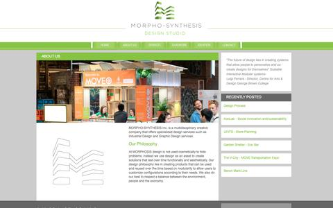 Screenshot of About Page morphosis.ca - ABOUT US « - captured Oct. 3, 2014