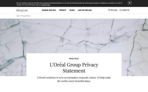 Screenshot of Privacy Page kerastase.com - Kérastase Privacy statement - captured Nov. 18, 2017