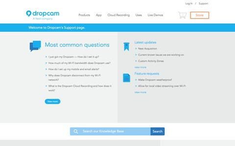 Screenshot of Support Page dropcam.com - Dropcam Support - captured Sept. 15, 2014