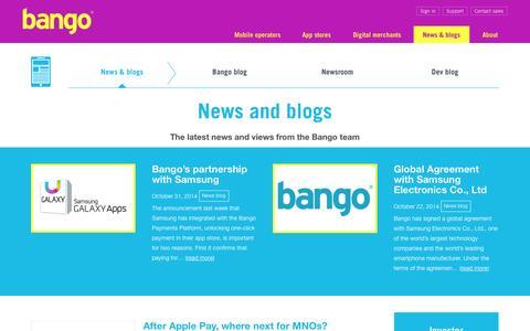 Screenshot of Press Page bango.com - News & blogs | Bango - captured Nov. 5, 2014