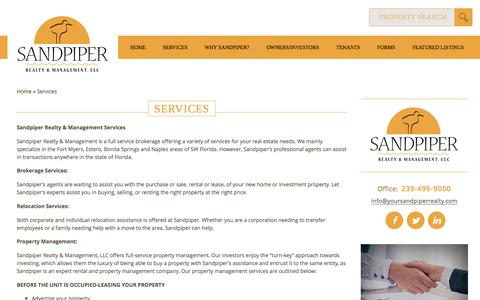 Screenshot of Services Page yoursandpiperrealty.com - Sandpiper Realty & Management Services | Estero Real Estate | Naples Property ManagementSandpiper Realty and Management, LLC - captured Nov. 18, 2016