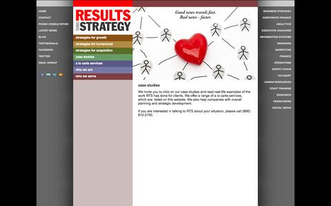 Screenshot of Case Studies Page resultsthrustrategy.com - case studies | Results Thru StrategyResults Thru Strategy - captured Oct. 26, 2014