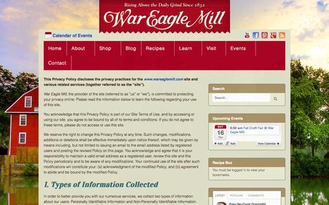 Screenshot of Privacy Page wareaglemill.com - Privacy Policy - War Eagle Mill - captured Oct. 7, 2014
