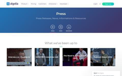 Screenshot of Press Page algolia.com - Algolia News and Press Resources   Algolia - captured Jan. 24, 2018