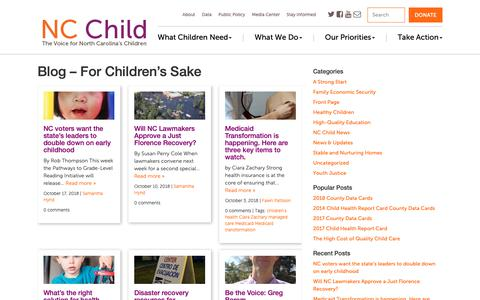 Screenshot of Blog ncchild.org - Blog - For Children's Sake - NC Child | The Voice for North Carolina's Children - captured Oct. 20, 2018