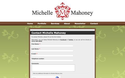 Screenshot of Contact Page michellemahoney.ca - Contact Michelle Mahoney | Michelle Mahoney - captured Dec. 10, 2018