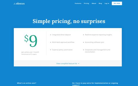 Screenshot of Pricing Page abacus.com - Real Time Expense Management - Abacus Pricing - captured Jan. 22, 2016