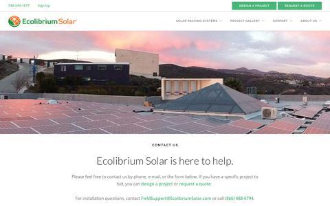 Screenshot of Contact Page ecolibriumsolar.com - Contact | Ecolibrium Solar - captured Sept. 12, 2019