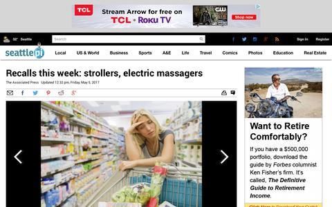 Screenshot of seattlepi.com - Recalls this week: strollers, electric massagers - seattlepi.com - captured May 7, 2017