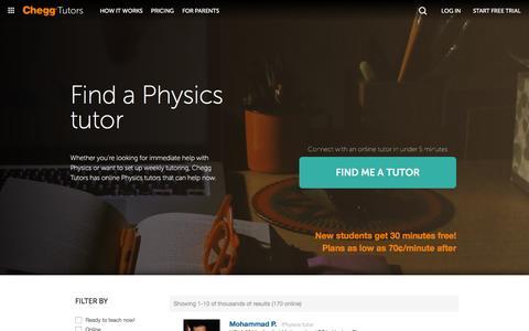 Screenshot of chegg.com - Online Physics Tutors  | Chegg.com - captured March 18, 2016