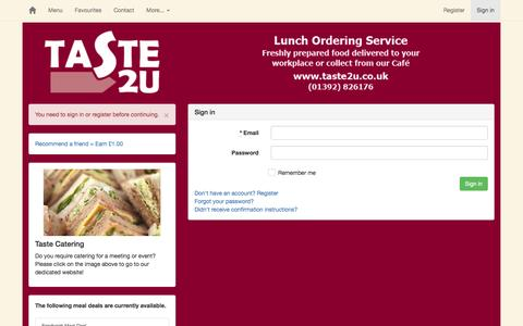 Screenshot of Privacy Page Login Page taste2u.co.uk - Taste 2U - Powered by Butterware - captured Jan. 8, 2017