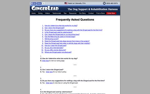 Screenshot of FAQ Page gingerlead.com - FAQs about our GingerLead Rear Sling Harness - captured Oct. 2, 2014