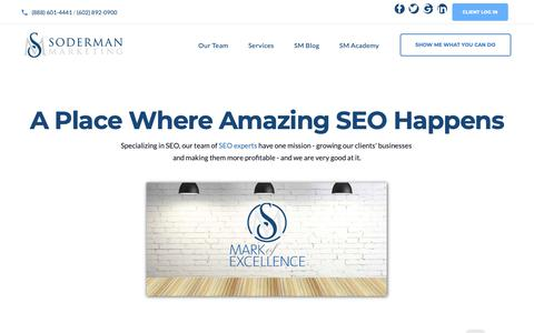 Screenshot of About Page Team Page sodermanmarketing.com - About Soderman Marketing SEO - An Award Winning SEO Company in Phoenix - captured Nov. 17, 2018