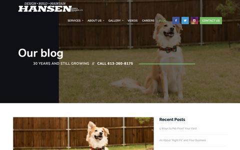Screenshot of Blog greensideup.com - Hansen Landscaping Blog | Hansen Lawn & Gardens Ltd. - captured Sept. 27, 2018
