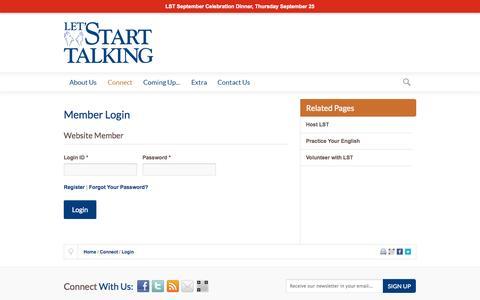 Screenshot of Login Page nm-secure.com - Let's Start Talking Ministry   Member Login - captured Sept. 24, 2014