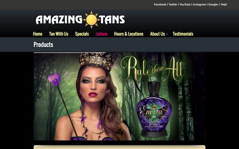 Screenshot of Products Page amazingtans.com - Products - captured Feb. 6, 2016