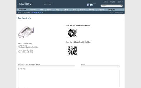 Screenshot of Contact Page staffex.co - Find Jobs Online - StaffEx™ Employment Portal & Social Network: Contact Info - captured Oct. 7, 2014