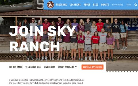 Screenshot of Jobs Page skyranch.org - Jobs | Sky Ranch Christian Camps - captured Oct. 19, 2018