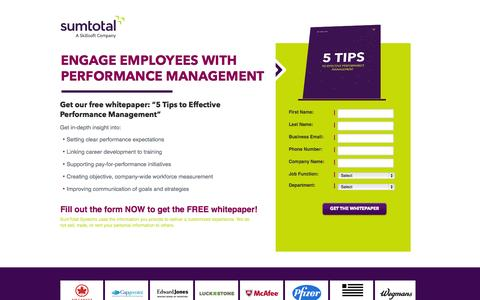 Screenshot of Landing Page sumtotalsystems.com - 5 Tips to Effective Performance Management - captured Oct. 27, 2014