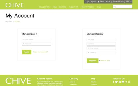 Screenshot of Login Page chive.com - Account | Chive - captured Oct. 30, 2014