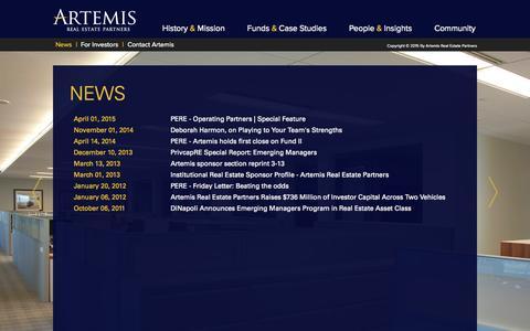 Screenshot of Press Page artemisrep.com - Artemis REP - captured Nov. 13, 2015
