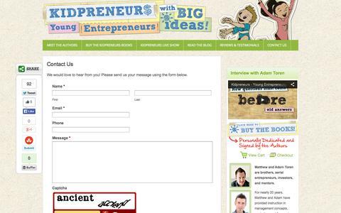 Screenshot of Contact Page kidpreneurs.org - Contact Us - captured Oct. 6, 2014