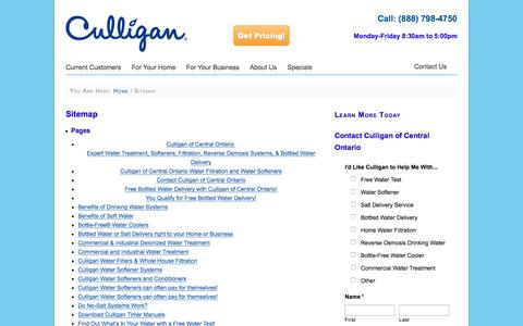 Screenshot of Site Map Page heyculliganman.com - Sitemap for Culligan of Central Ontario - captured Feb. 2, 2016
